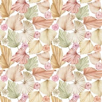 Akwarela bezszwowe wzór liści palmowych i róż beżowy i kremowy.