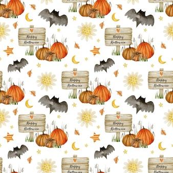 Akwarela bezszwowe wzór na happy halloween jesień witaj październik