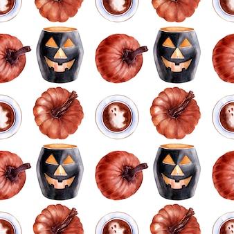 Akwarela bezszwowe wzór na temat świąt halloween. charakterystyczne postacie i atrybuty