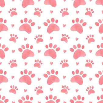 Akwarela bezszwowe wzór odciski łap kota i serca kot łapa akwarela tło