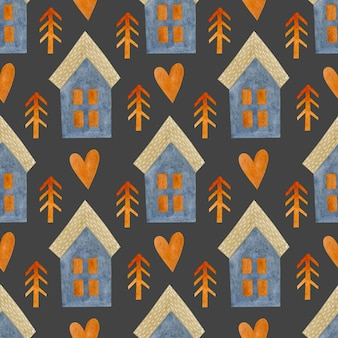 Akwarela bezszwowe wzór pomarańczowy jodły serca domy