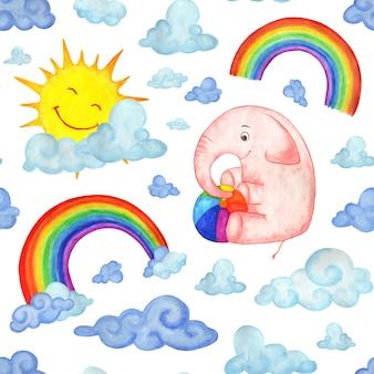 Akwarela bezszwowe wzór różowy słoń z piłką, chmury, tęcza