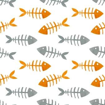 Akwarela bezszwowe wzór szkielety ryb akwarele tła