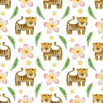 Akwarela bezszwowe wzór tygrysy tropikalne liście i kwiaty na białym tle