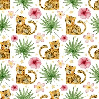 Akwarela bezszwowe wzór tygrysy tropikalne liście na białym tle