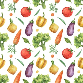 Akwarela bezszwowe wzór warzyw (pomidor, bakłażan, marchew, brokuły, pieprz, cebula) na białym tle. zdrowe jedzenie, wegetariańskie.