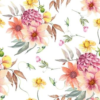 Akwarela bezszwowe wzór wihte kwiaty.