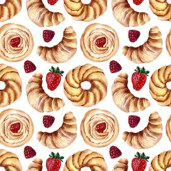 Akwarela bezszwowe wzór z bułki, babeczki kremowe i dojrzałe truskawki, maliny i wiśnie