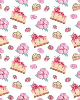 Akwarela bezszwowe wzór z ciastami