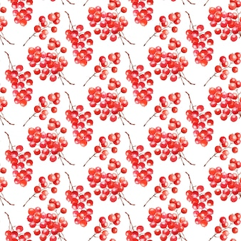 Akwarela bezszwowe wzór z czerwonymi jagodami. boże narodzenie