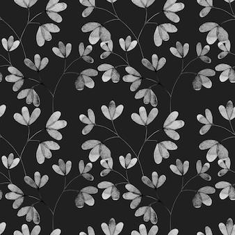 Akwarela bezszwowe wzór z gałązek liści czarno-białych małych liści