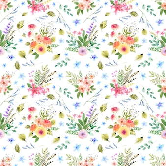 Akwarela bezszwowe wzór z handdrawn kwiatów i liści