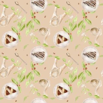 Akwarela bezszwowe wzór z ilustracjami filiżanki kawy i deserów