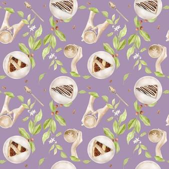 Akwarela bezszwowe wzór z ilustracjami filiżanki kawy, ziarna kawy, młynek do kawy, cappuccino, latte i desery