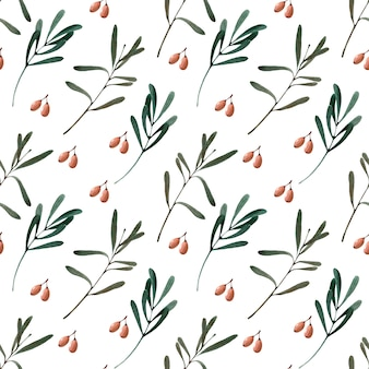 Akwarela bezszwowe wzór z jagodami, gałązkami i liśćmi rokitnika