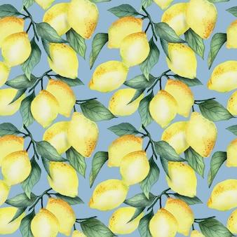Akwarela bezszwowe wzór z jasnożółtych cytryn i liści na niebieskim tle, projekt jasny lato.