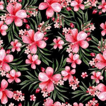 Akwarela bezszwowe wzór z kwiatami. ilustracja
