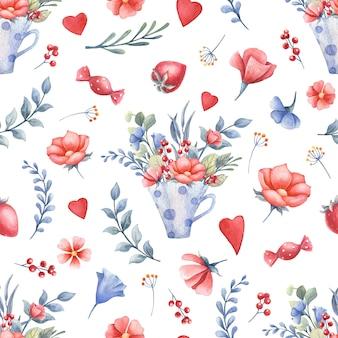 Akwarela bezszwowe wzór z kwiatami, serca, kubki, słodycze. koncepcja walentynki.