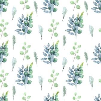 Akwarela bezszwowe wzór z liści i kwiatostanów roślin wiosennych