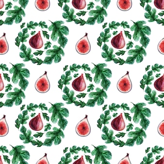 Akwarela bezszwowe wzór z owocami i liśćmi figowymi