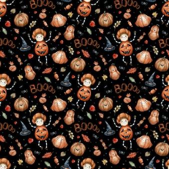 Akwarela bezszwowe wzór z pomarańczowymi cukierkami halloween, dyniami, grzybami, czarnymi kapeluszami i kolcami. halloween dekoracji niekończące się tło.