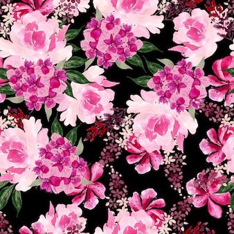 Akwarela bezszwowe wzór z róż, piwonii i kwiatów hortensji. ilustracja