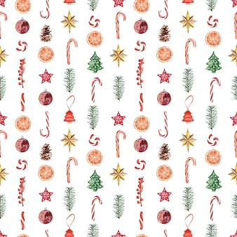 Akwarela bezszwowe wzór z różnymi świątecznymi atrybutami świąt noworocznych