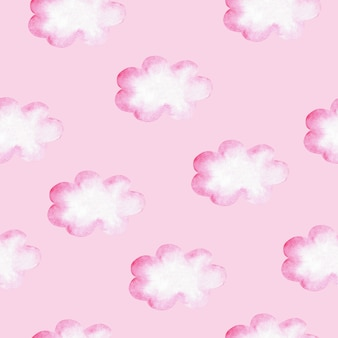 Akwarela Bezszwowe Wzór Z Różowe Chmury. Ilustracja Dla Dziewczynek. Premium Zdjęcia