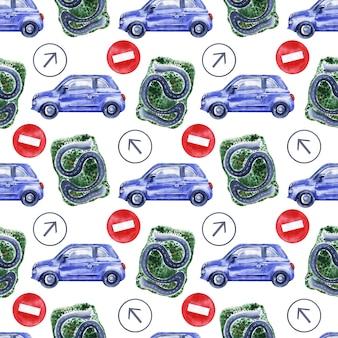 Akwarela bezszwowe wzór z samochodów, znaków drogowych, map i sygnalizacji świetlnej