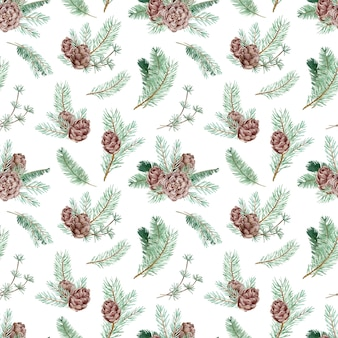 Akwarela bezszwowe wzór z sosnowych gałęzi i szyszek. zima w tle lasu. boże narodzenie i nowy rok wzór botaniczny.