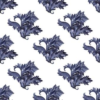 Akwarela bezszwowe wzór z stylizowane rośliny akantu. liście, gałązki i kwiaty