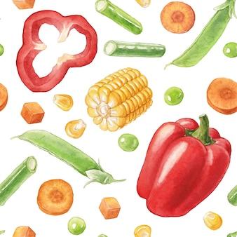 Akwarela bezszwowe wzór z warzywami na białej czerwonej papryce kukurydzy i szparagów