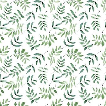 Akwarela bezszwowe wzór z zielonymi gałązkami cytryny i abstrakcyjnymi plamami