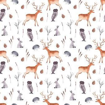 Akwarela bezszwowe wzór ze zwierzętami leśnymi