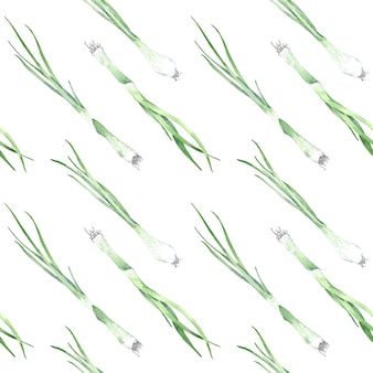 Akwarela bezszwowe wzór zielonej cebuli