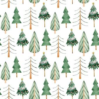 Akwarela bezszwowe wzór zima zielony las