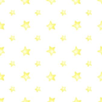 Akwarela bezszwowe wzór żółtych gwiazd na białym tle