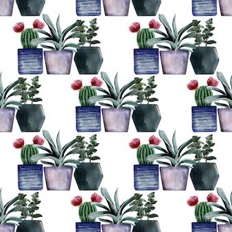 Akwarela bezszwowe wzory z różnego rodzaju kaktusów w wielobarwnych doniczkach