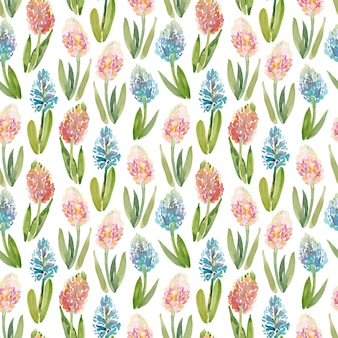 Akwarela bezszwowy wzór z hiacyntowymi kwiatami na białym tle
