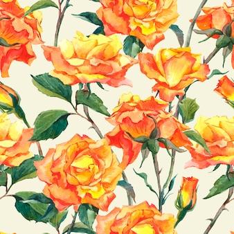 Akwarela bezszwowy wzór z żółtymi różami