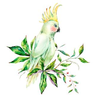 Akwarela biała papuga lato kartkę z życzeniami z kwiatami, liśćmi