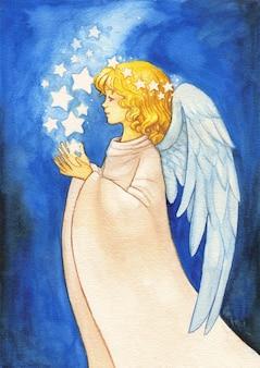Akwarela błogosławieństwo anioła trzymającego świecące gwiazdy