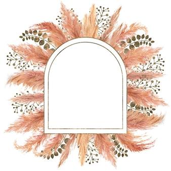 Akwarela boho bukiet z suszoną trawą pampasową i srebrną ramą geometryczną na na białym tle. ilustracja kwiatowa na ślub lub świąteczny projekt zaproszeń, pocztówek, drukowania