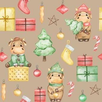 Akwarela boże narodzenie byki wzór, szczęśliwego nowego roku 2021, ręcznie rysowane tła boże narodzenie, wzór tkaniny