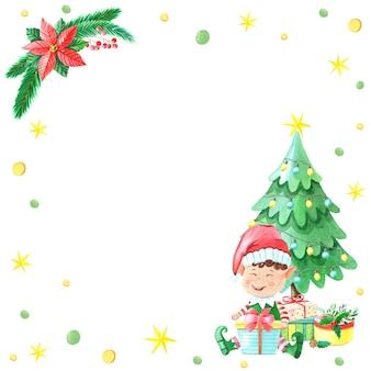 Akwarela boże narodzenie elf chłopiec z pudełkiem w pobliżu choinki.