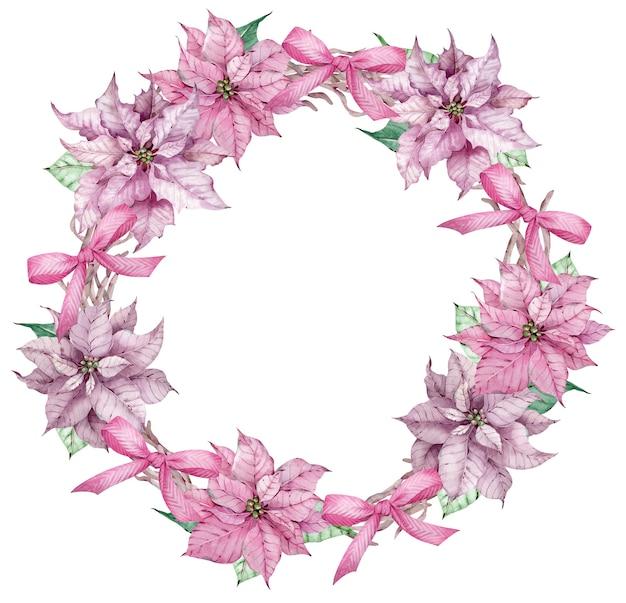 Akwarela boże narodzenie i szczęśliwego nowego roku różowy wieniec poinsettia. boże narodzenie ozdobne ramki koło kwiatów z kokardkami na białym tle na białym tle.