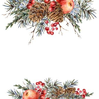 Akwarela boże narodzenie naturalny szablon gałęzie jodły, czerwone jabłko, jagody, szyszki, vintage botaniczny kartkę z życzeniami
