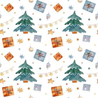 Akwarela boże narodzenie wzór z wigilią zabawek przedstawia gwiazdy z piernika i płatki śniegu