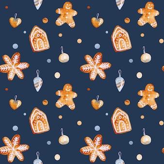 Akwarela boże narodzenie wzór z zabawkami gwiazdy i płatki śniegu