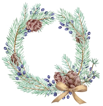 Akwarela boże narodzenie zima sosny i szyszki wieniec i nowy rok karty na białym tle na białym tle